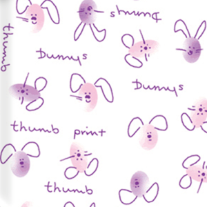 Dynamic Orthopedics Transfer Paper Thumbprint Bunnies Pink Purple